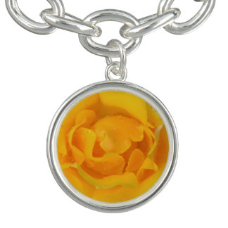 Romantic Yellow Rose Water Drops Charm Bracelets