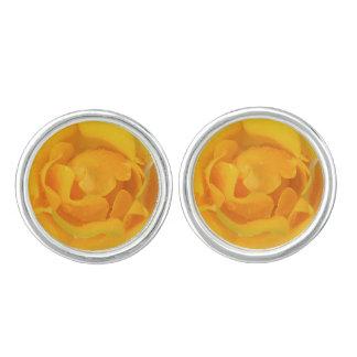 Romantic Yellow Rose Water Drops Cufflinks
