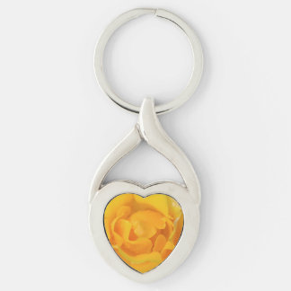 Romantic Yellow Rose Water Drops Keychain