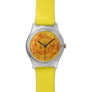 Romantic Yellow Rose Water Drops Wrist Watches