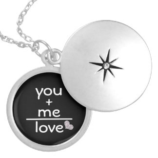 Romantic You +Me Equals Love Silver Plated Necklace