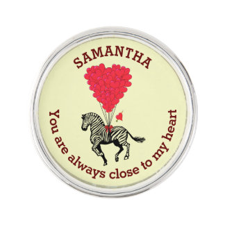 Romantic zebra and red heart personalized lapel pin