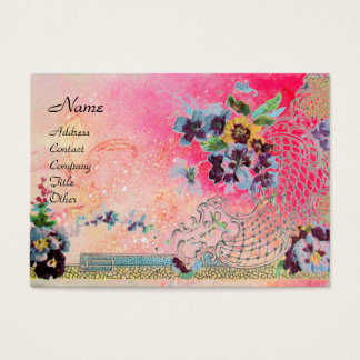 ROMANTICA 2 / Beautiful Pansies in Pink and Blue Business Card