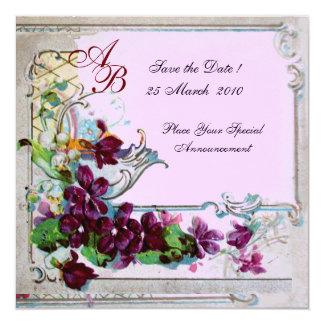 ROMANTICA 4 MONOGRAM, Floral Purple Pink Wedding Card