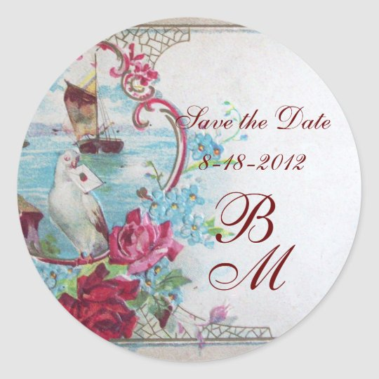 ROMANTICA MONOGRAM,Save the Date,white Classic Round Sticker