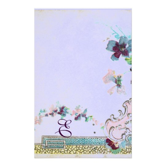 ROMANTİCA Pink Blue Wedding Floral Monogram Stationery Paper