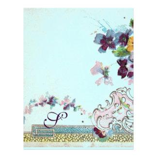 ROMANTICA Pink Teal Blue Pansies Floral Monogram Letterhead