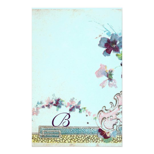 ROMANTİCA Pink Teal Blue Wedding Floral Monogram Stationery