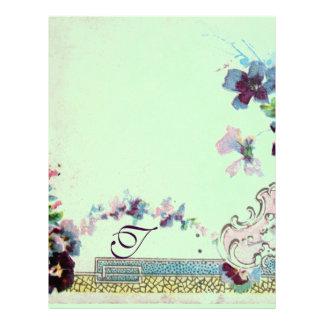ROMANTICA Pink Teal Green Pansies Floral Monogram Letterhead