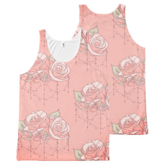 Romantically Pink ~ A Rose Floral Pattern Gift All-Over-Print Tank Top
