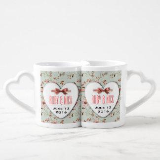 RomanticCharm Vintage Floral Wedding Collection Lovers Mug Sets