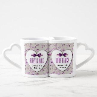RomanticCharm Vintage Floral Wedding Collection Couple Mugs
