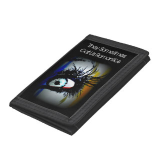 'Romantics' on a tri-fold nylon wallet