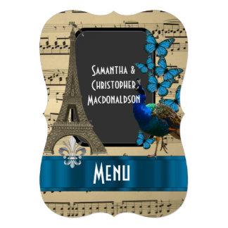 "Romatic Paris and music sheet wedding menu 5"" X 7"" Invitation Card"