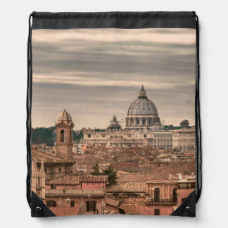 Rome Aerial View From Monte Pincio Sightseeing Drawstring Bag