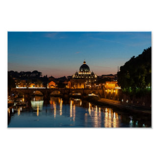 Rome by night poster, St Peter's and Vatican City Poster