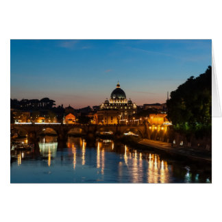 Rome by night, with St Peters. Card