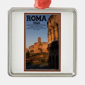 Rome - Colosseum and Temple of Venus Silver-Colored Square Ornament