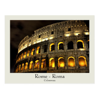 Rome - Colosseum at night postcard with text