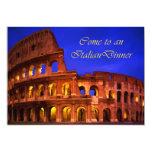 Rome Colosseum au dîner d'Italien de nuit Carton D'invitation 12,7 Cm X 17,78 Cm