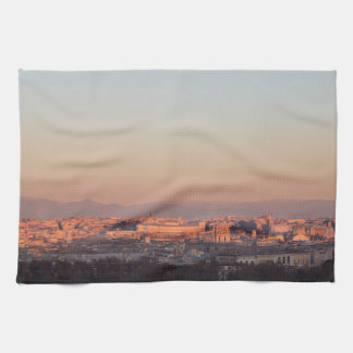 Rome from Gianicolo panorama at sunset Kitchen Towel