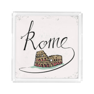 Rome Hand Lettered Design Serving Tray