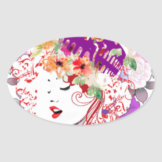 Rome in Woman Oval Sticker