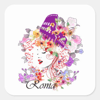 Rome in Woman Square Sticker