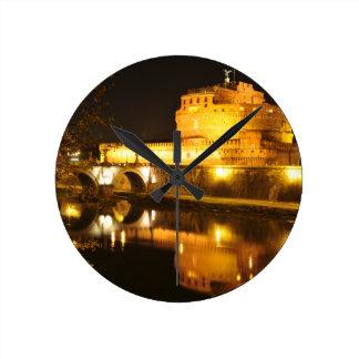 Rome, Italy at night Round Clock
