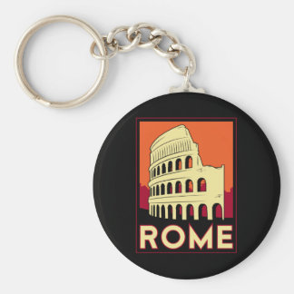 rome italy coliseum europe vintage retro travel basic round button keychain
