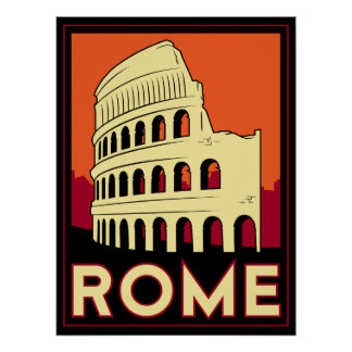 rome italy coliseum europe vintage retro travel poster