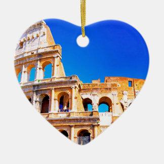 Rome, Italy - Colosseum Ceramic Heart Ornament