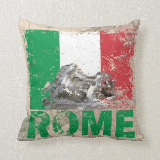 Rome Italy Distressed Flag on Vintage Europe Map Throw Pillow