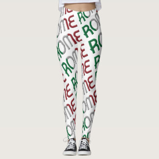Rome Italy Italian Flag Colors Typography Pattern Leggings