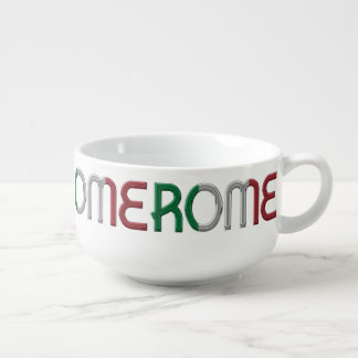 Rome Italy Italian Flag Colors Typography Pattern Soup Mug