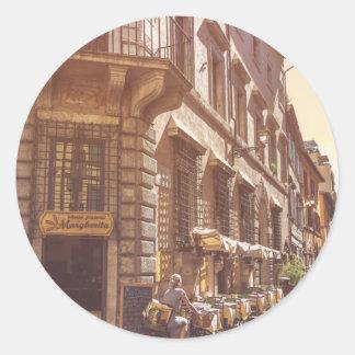 Rome Italy Italian Grocery Getter Bike Cobblestone Round Sticker