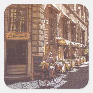 Rome Italy Italian Grocery Getter Bike Cobblestone Square Sticker