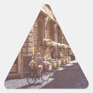 Rome Italy Italian Grocery Getter Bike Cobblestone Triangle Sticker