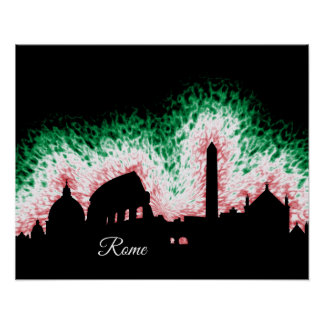 Rome Italy Silhouette Poster