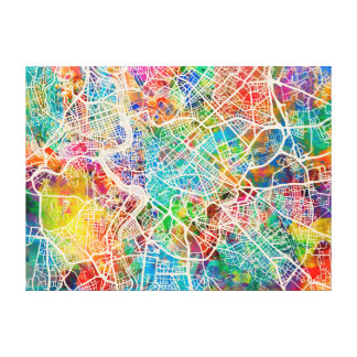 Rome Italy Street Map Canvas Print