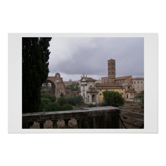 Rome on a rainy day  poster