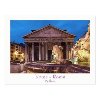 Rome - Pantheon at night postcard with text