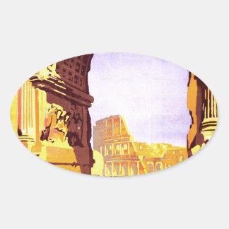 """Rome, par le train de luxe """"Rome Express"""" Oval Sticker"""