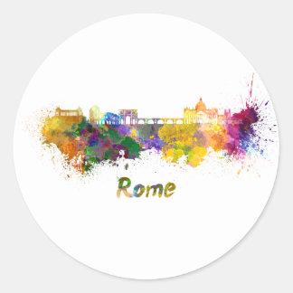 Rome skyline in watercolor classic round sticker