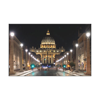 Rome: St. Peter's by Night Canvas Print