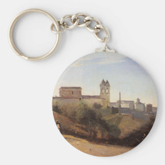 Rome, the Trinita dei Monti View from the Gardens Basic Round Button Keychain