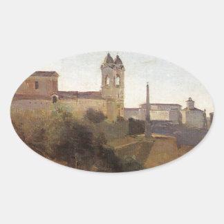 Rome, the Trinita dei Monti View from the Gardens Oval Sticker