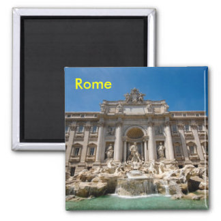 Rome Trevi Fountain Square Magnet
