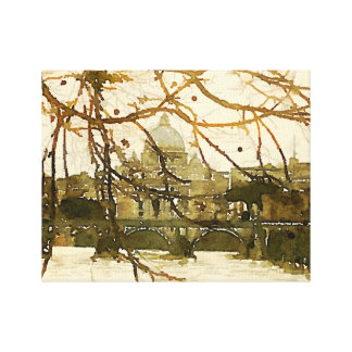 """""""Rome"""" Watercolored Photo on wrapped canvas"""