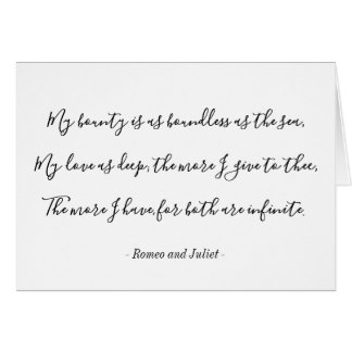 Romeo and Juliet Shakespeare Quote Valentine Card